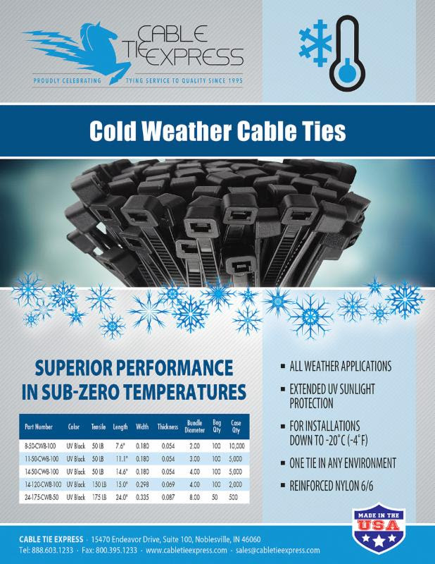 7f0f8545b722 Cold weather cable ties have superior performance in sub-zero temps (to  -20C) and extended UV sunlight protection